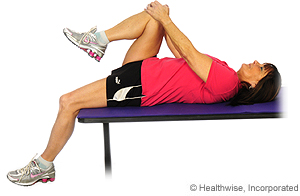 Picture of how to do hip flexor stretch on edge of table