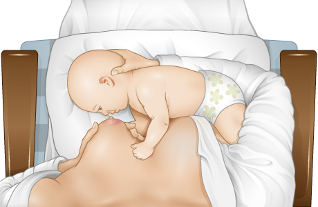 Baby lying on side in front of breast