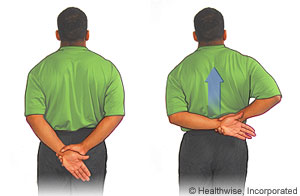 Stretching arm behind back