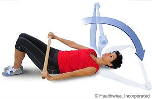 Shoulder flexion exercise while lying down
