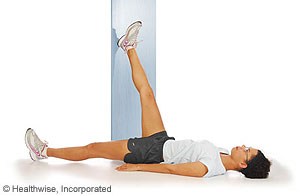 Hamstring wall stretch