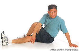 Iliotibial band and buttock stretch (sitting)