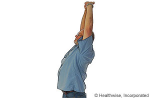 Picture of overhead reach to ease shoulder fatigue