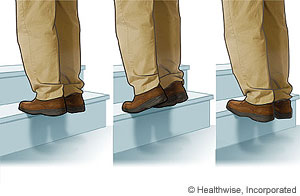 Picture of how to do heel raises on a step