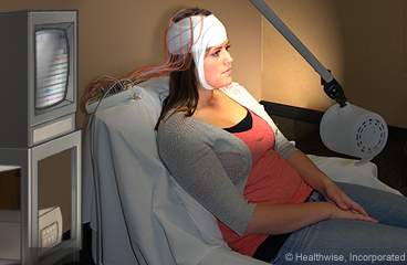 Woman having an EEG