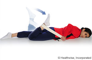 Picture showing quadricep stretch (face down)