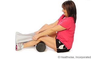 Picture of how to do lower calf stretch with towel
