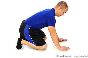 Picture of how to do plantar fascia stretch while kneeling
