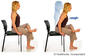 Picture of how to do seated hip rotator stretch