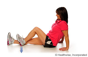 Picture of hamstring set (heel dig) exercise