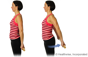 Picture of how to do shoulder extension exercise while standing