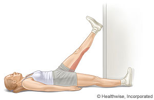 Hamstring stretch in a doorway
