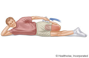 Picture of how to do quadricep and hip flexor stretch, lying on side